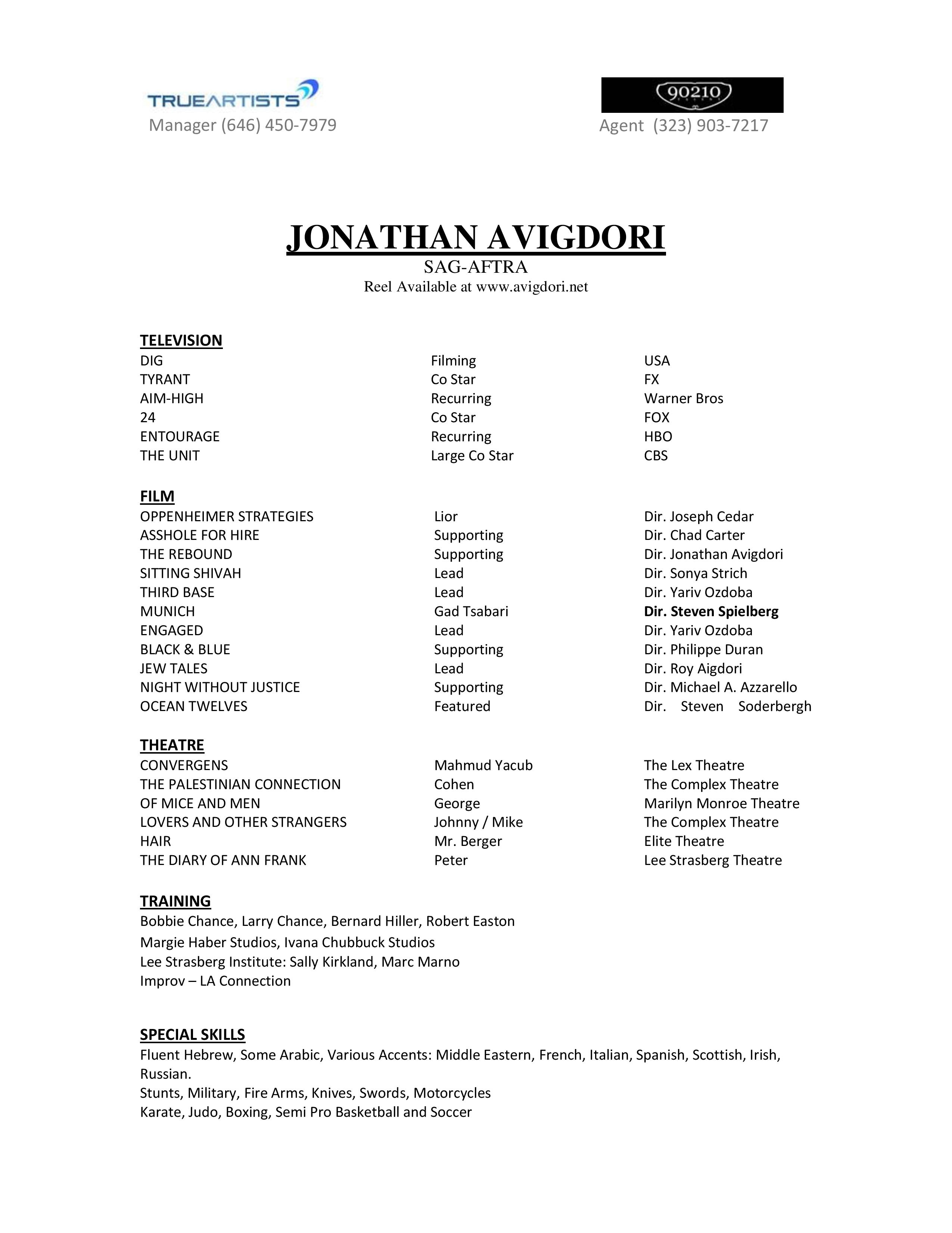 acting resume professional acting resume